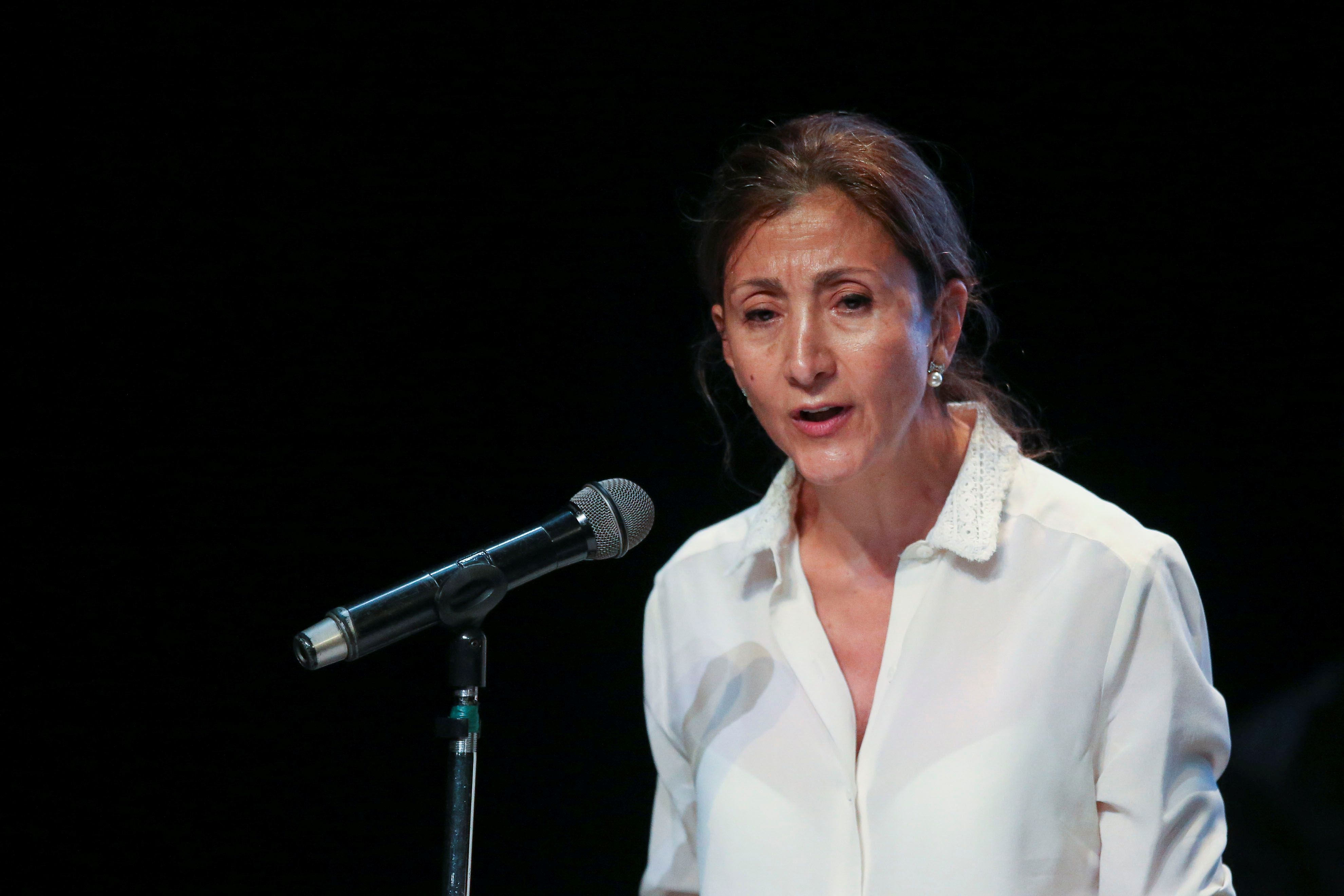 Ingrid Betancourt, French-Colombian politician and former FARC hostage, speaks during an act of recognition with the participation of her kidnappers and their now political party Comunes, in Bogota, Colombia June 23, 2021. REUTERS/Luisa Gonzalez